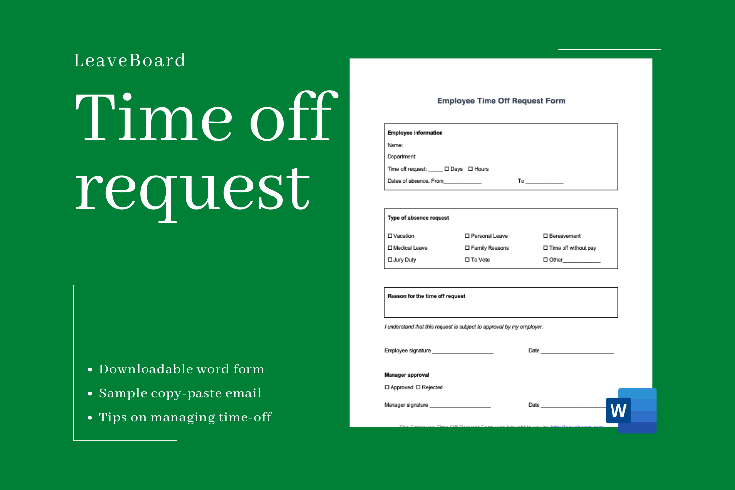 Time Off Request   PTO Request Form Template   Leave Board